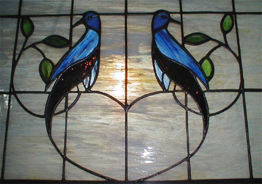 Bluebirds in Stained         Glass