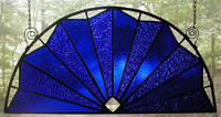 Cobalt Blue Fan Leaded Glass