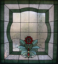 Brocade Design Bathroom Stained Glass Window