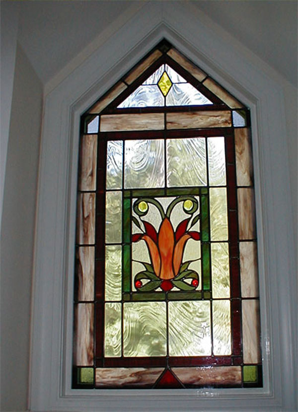 Art Deco Tulip Stained         Glass Window