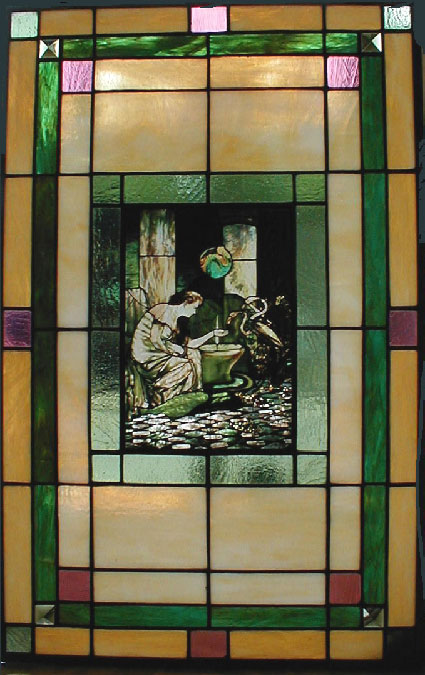 Tiffany Reproduction Painting Framed In Stained Glass