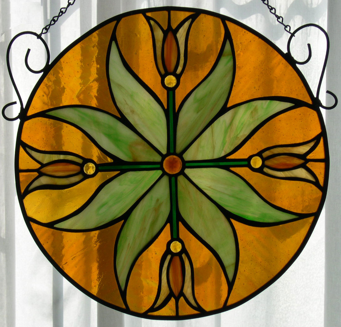 Stained Glass Window - Golden Tulips