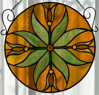 Golden Tulips Stained Glass Wnidow