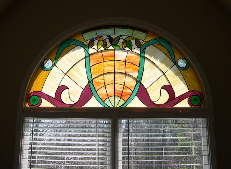 Large Half Round Stained Glass Window