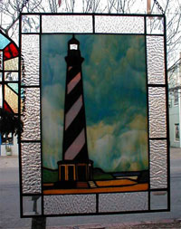 Lighthouse Stained Glass Hanging