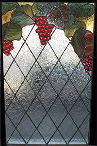 Red Grapes over Diamonds Stained Glass