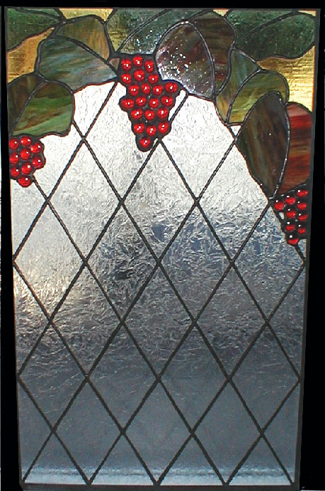 Red Grapes and Vine with Clear Textured Stained Glass