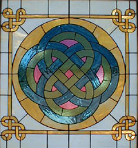 Celtic Storyteller Stained Glass Window