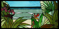 Beach View with Tropical Plants Stained Glass